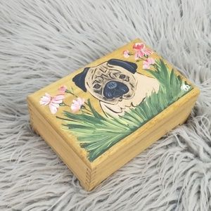 Wooden Hand Painted Pug Jewelry Trinket Box